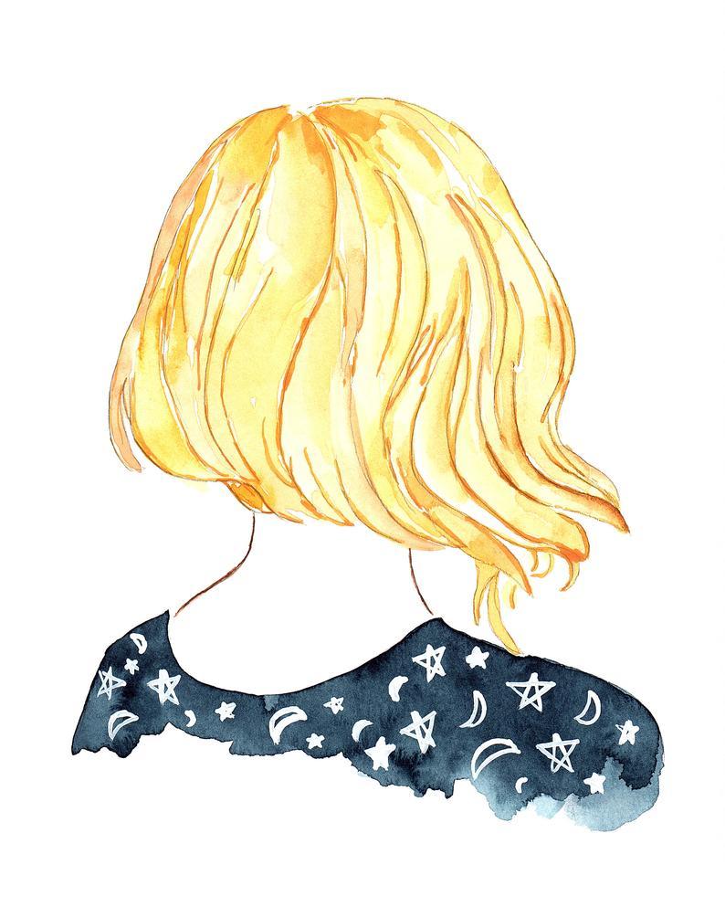 794x993 blue starry night sky blonde hair short watercolor art print etsy