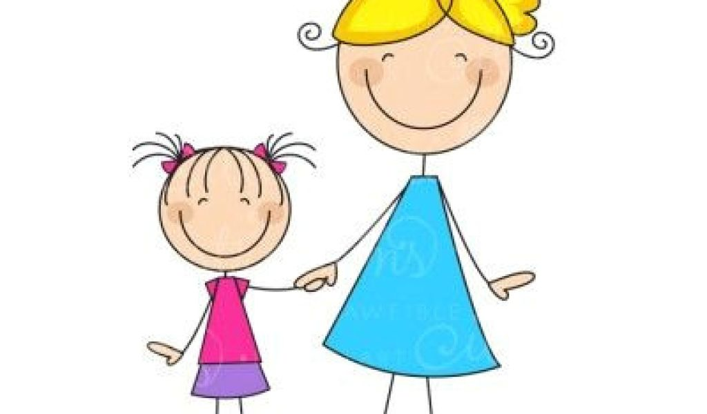 1024x600 drawing of a cartoon mom mom daughter stick figure blonde
