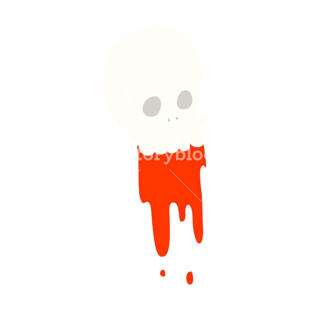 1000x1000 Flat Color Illustration Cartoon Blood Dripping Skull Royalty Free