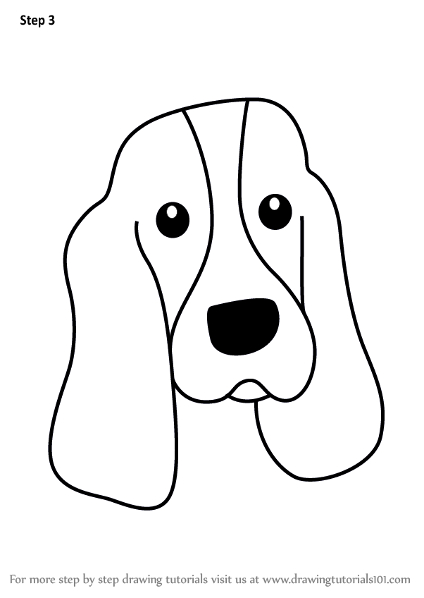 602x848 Learn How To Draw A Bloodhound Dog Face For Kids