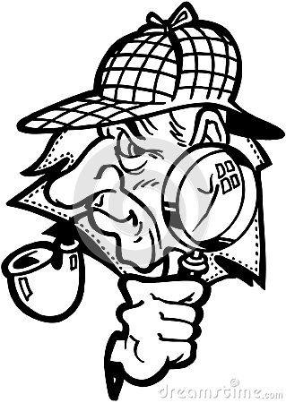 319x450 Sleuth Cartoon Design Vector Clipart Stock Vector