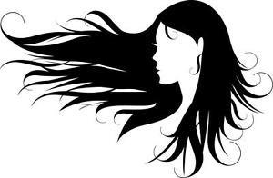 300x196 long curly wind blowed hair wind blown hair girl silhouette