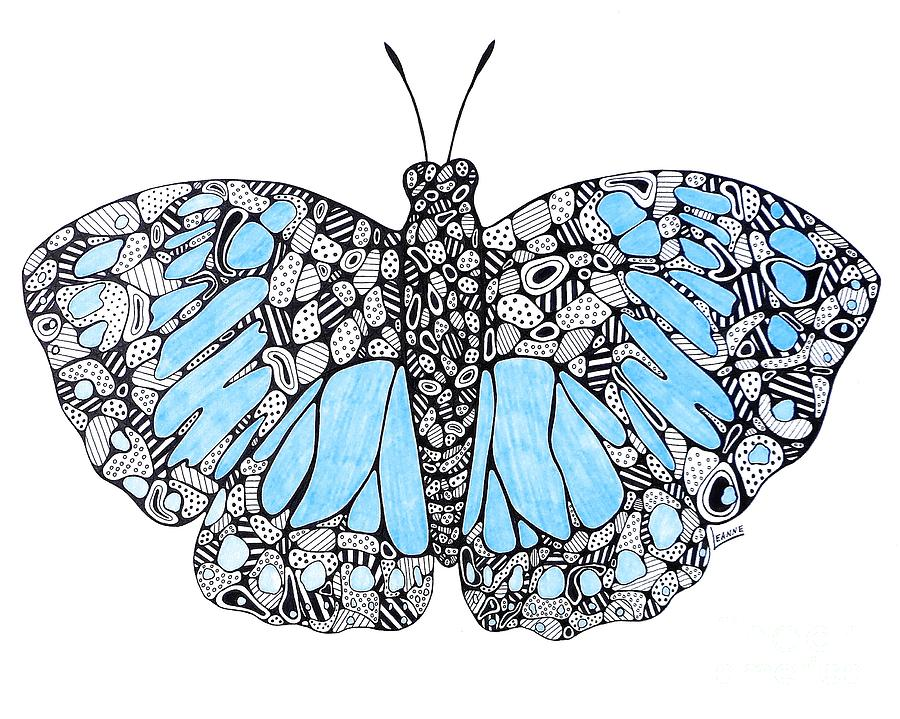 900x719 Blue Butterfly Drawing