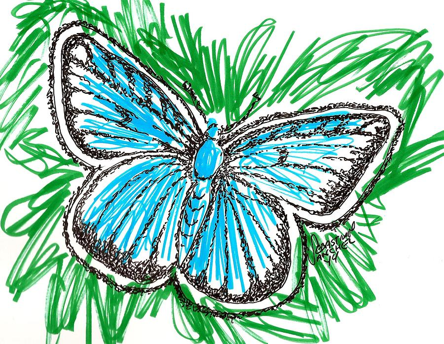 900x697 Blue Butterfly Drawing
