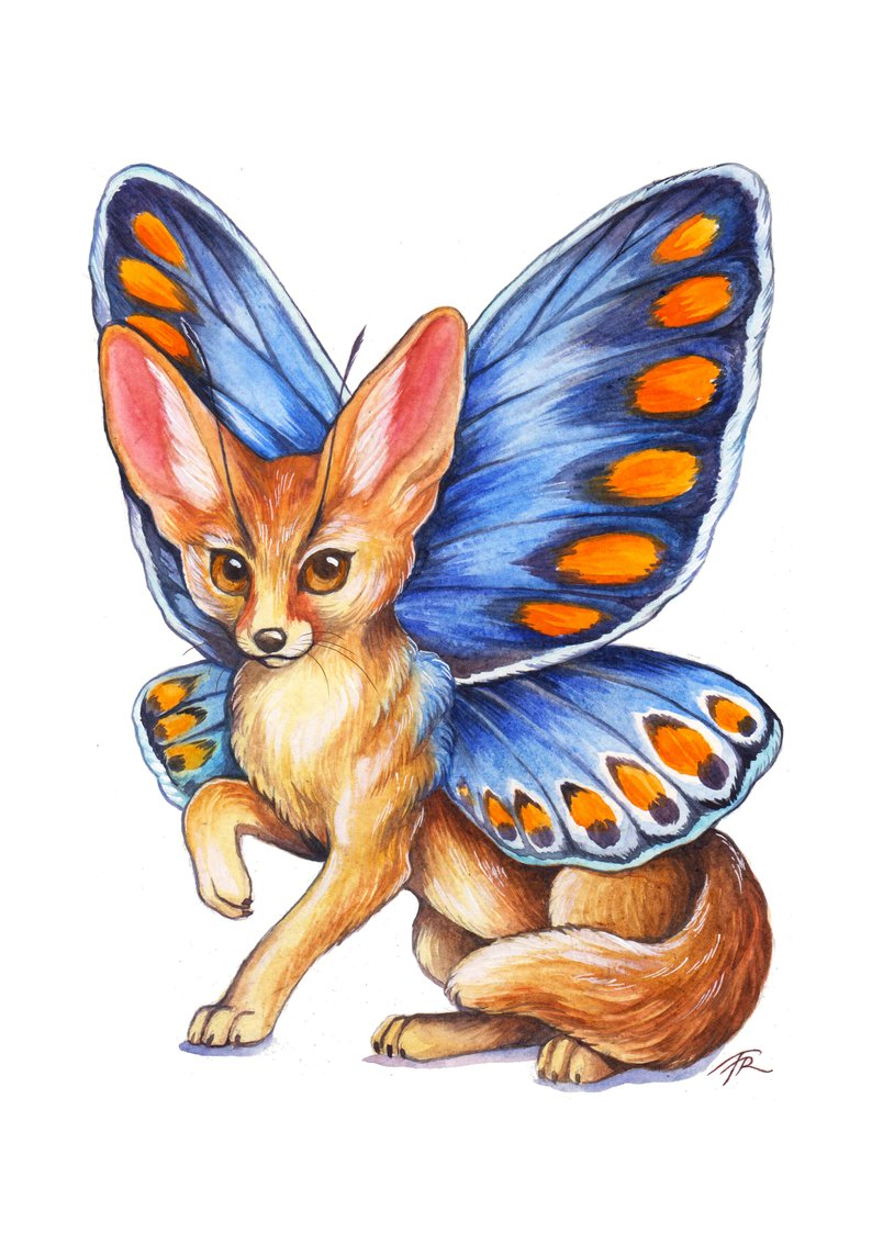 794x1123 Fantasy Art Magical Fennec Fox Common Blue Butterfly Etsy