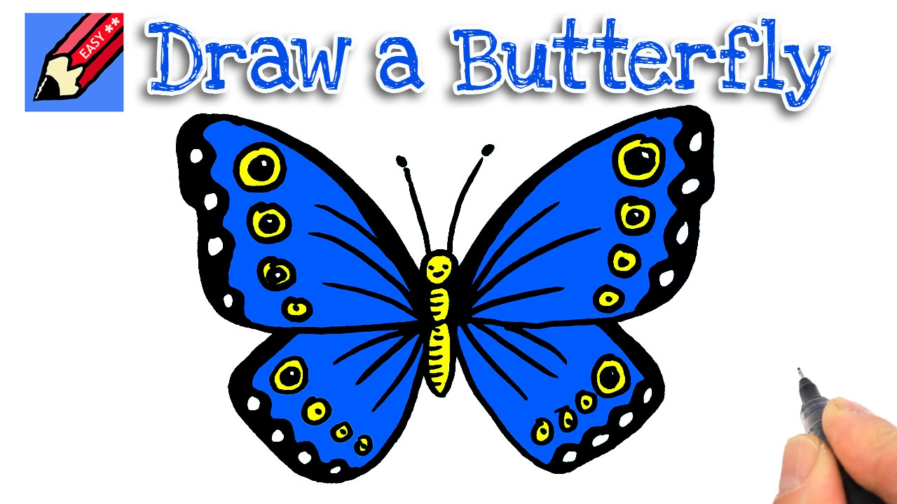 1280x720 How To Draw A Butterfly Real Easy For Kids And Beginners