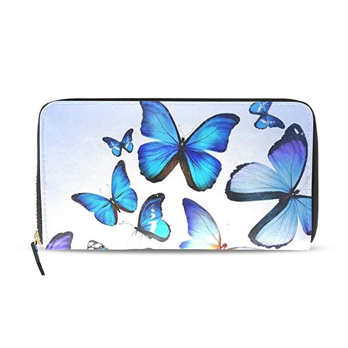 679x679 Lorvies Blue Butterfly Colorful Drawing Art Beautiful Pu Leather