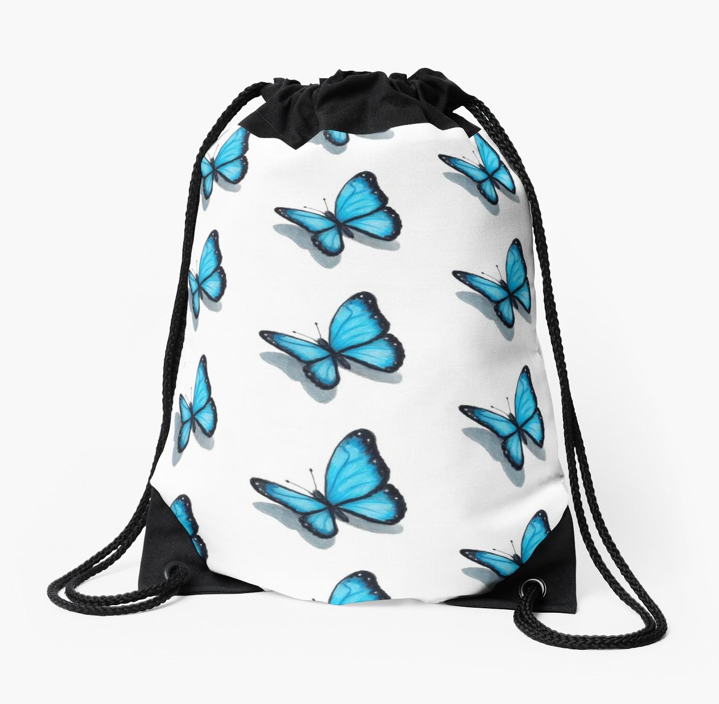 1435x1404 Blue Butterfly, Colour Pencil Drawing, Art Drawstring Bag