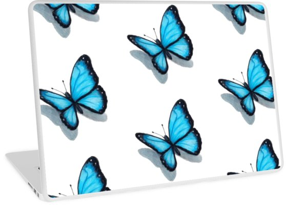 558x400 Blue Butterfly, Colour Pencil Drawing, Art Laptop Skins