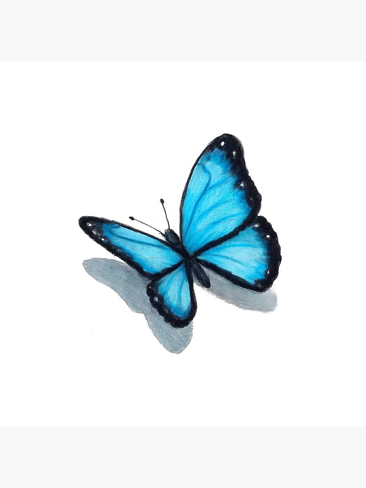 750x1000 Blue Butterfly, Colour Pencil Drawing, Art Tote Bag