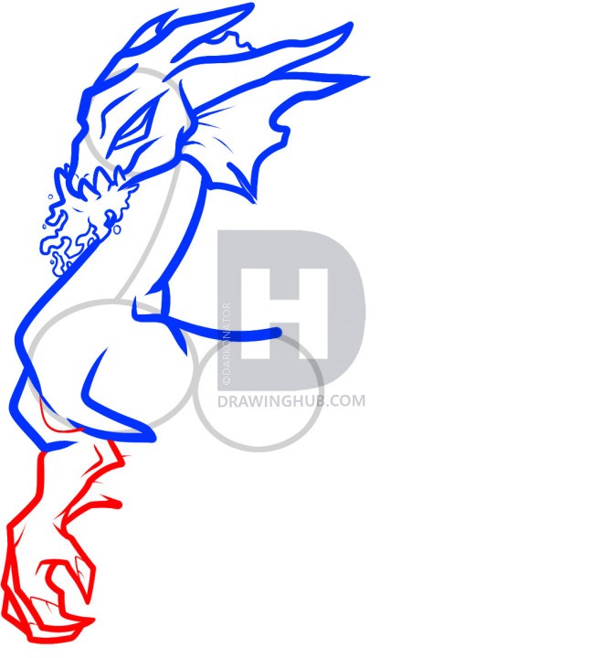 647x720 How To Draw A Water Dragon, Blue Dragon, Step