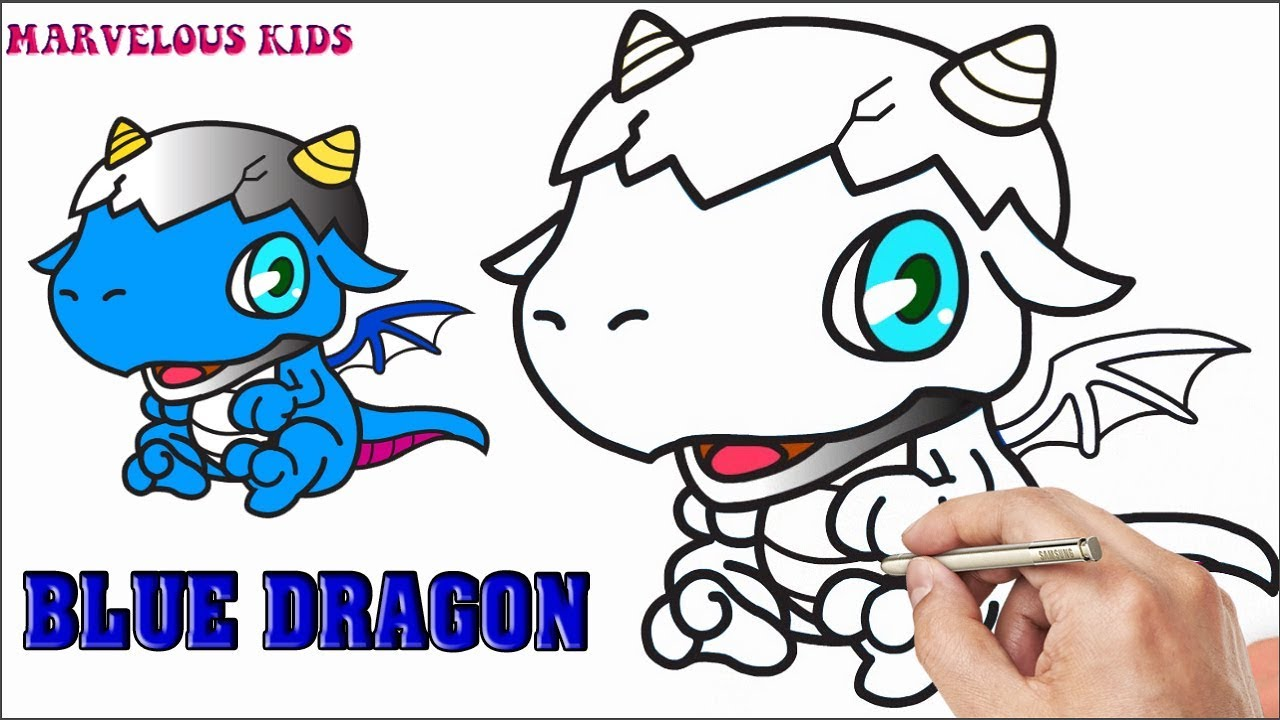 1280x720 How To Draw Chibi Blue Dragon Marvelous For Kids