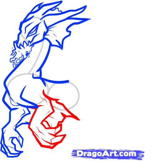 467x520 Step How To Draw A Water Dragon, Blue Dragon