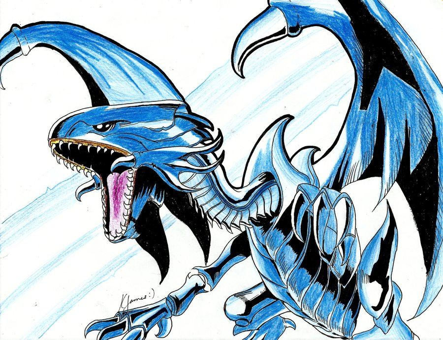 Blue Eyes White Dragon Drawing Free Download Best Blue