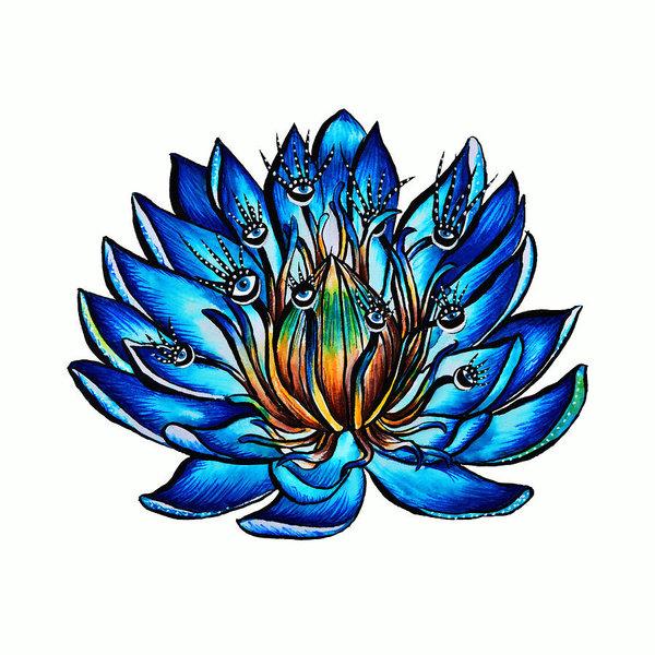 600x600 Weird Multi Eyed Blue Water Lily Flower Poster