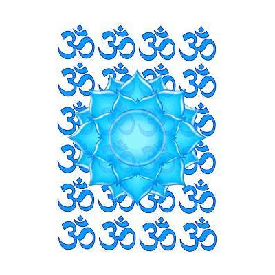 400x400 Blue Glass Lotus Flower Drawing With Om Pattern