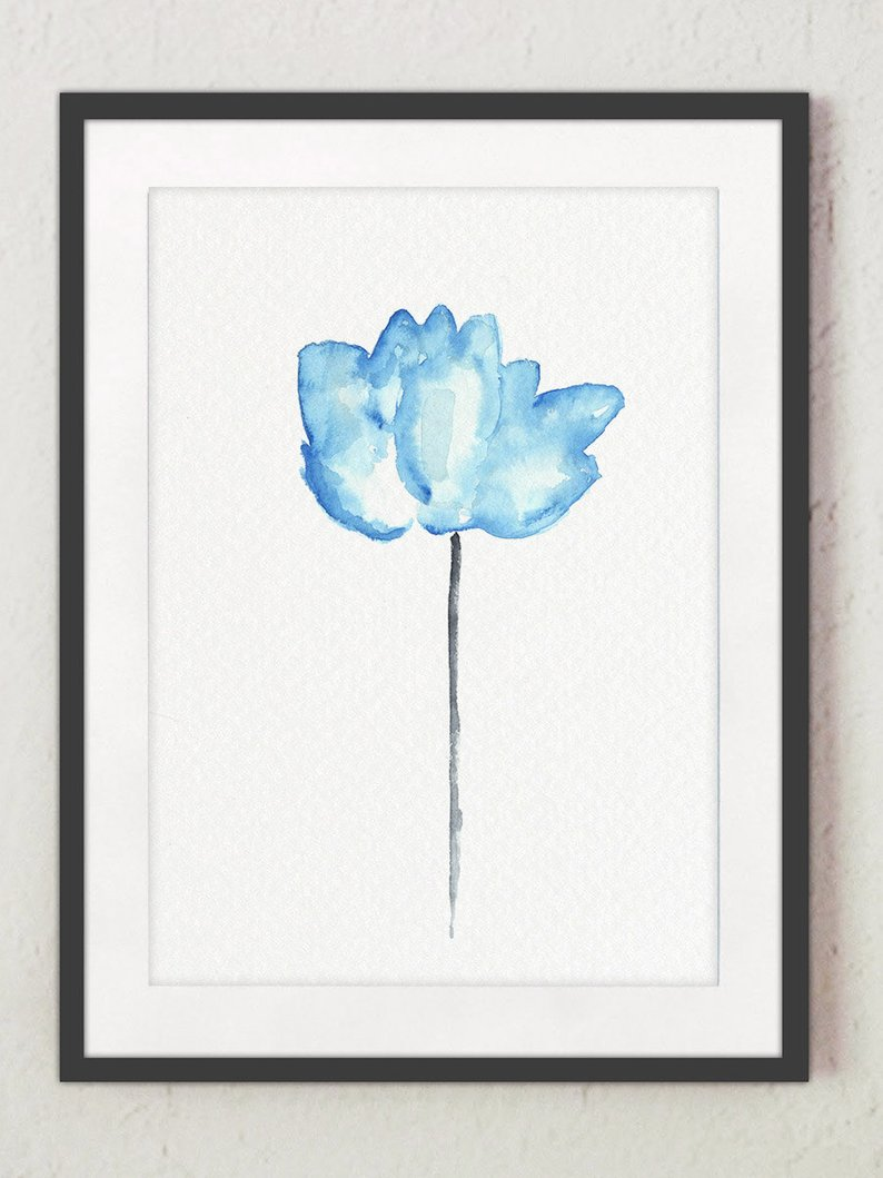 794x1059 Blue Lotus Flower Watercolor Painting Abstract Flowers Art Etsy