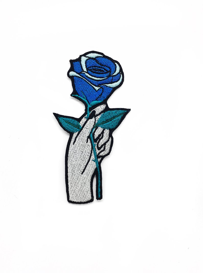 794x1066 iron on patch hand with blue rose patch embroidered patches etsy