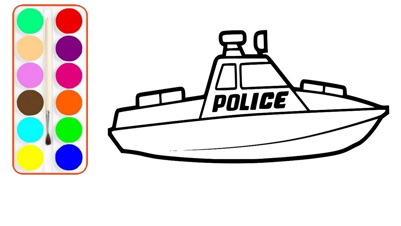 1280x720 speed boat drawing and coloring police speed boat coloring pages