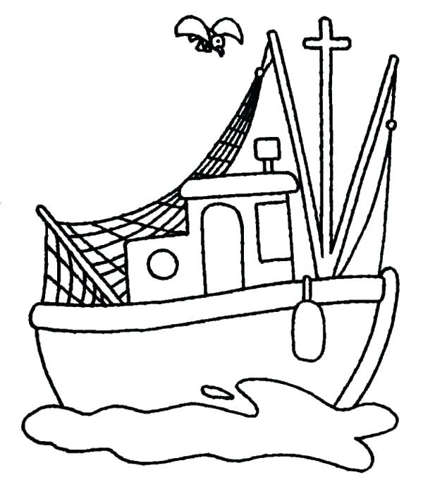 600x697 how to draw a fishing boat fishing boat coloring pages bestlink
