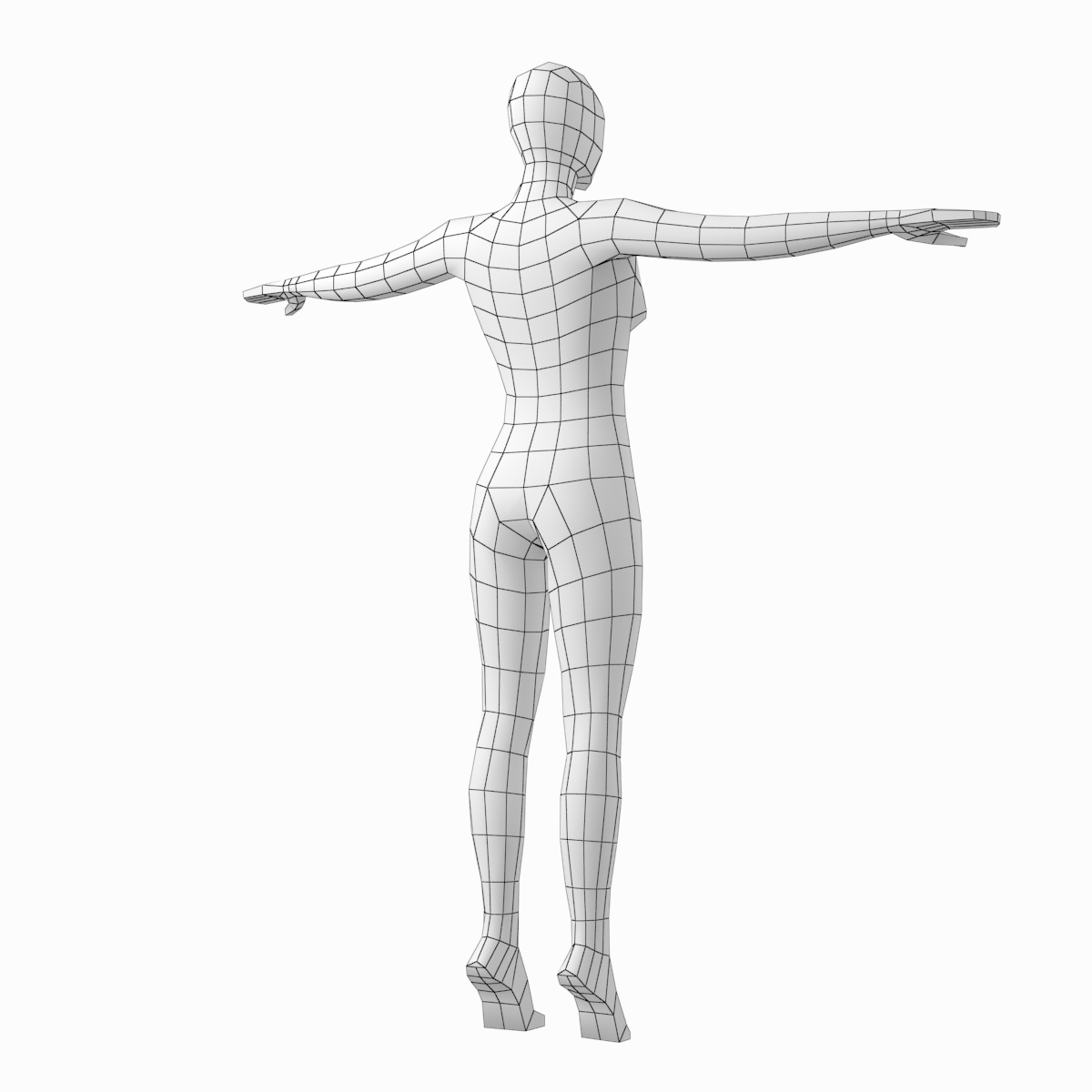 1200x1200 Female Body On Toes Base Mesh In T Pose Model