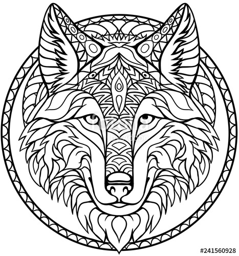 467x500 Doodle Wolf Coloring Book Outline Drawing In Vector Stock Image