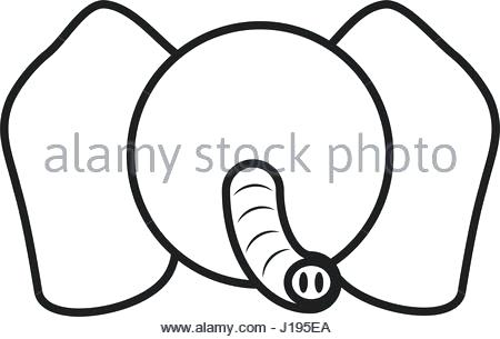 450x305 Elephant Animals Book Outline Vector Image Drawing Face