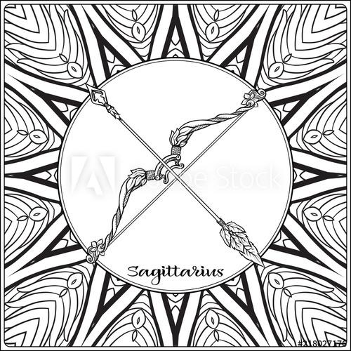 500x500 Sagittarius, Bow, Arrows Decorative Zodiac Sign On Pattern