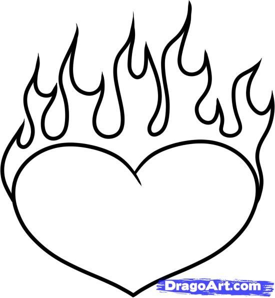 550x596 How To Draw A Heart On Fire Step