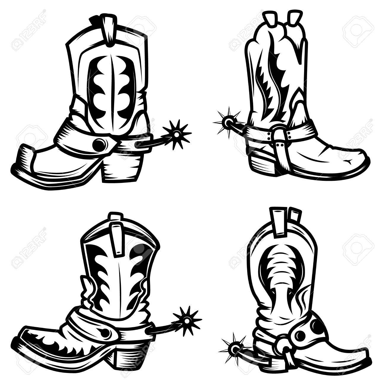 1299x1300 Cowboy Boot Logo Wild West Outline Drawing For Vector