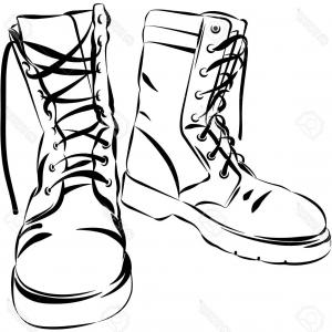 300x300 Stock Illustration Army Boots Pencil Drawing White Background