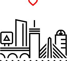 220x200 Boston Skyline Drawing Stickers Redbubble
