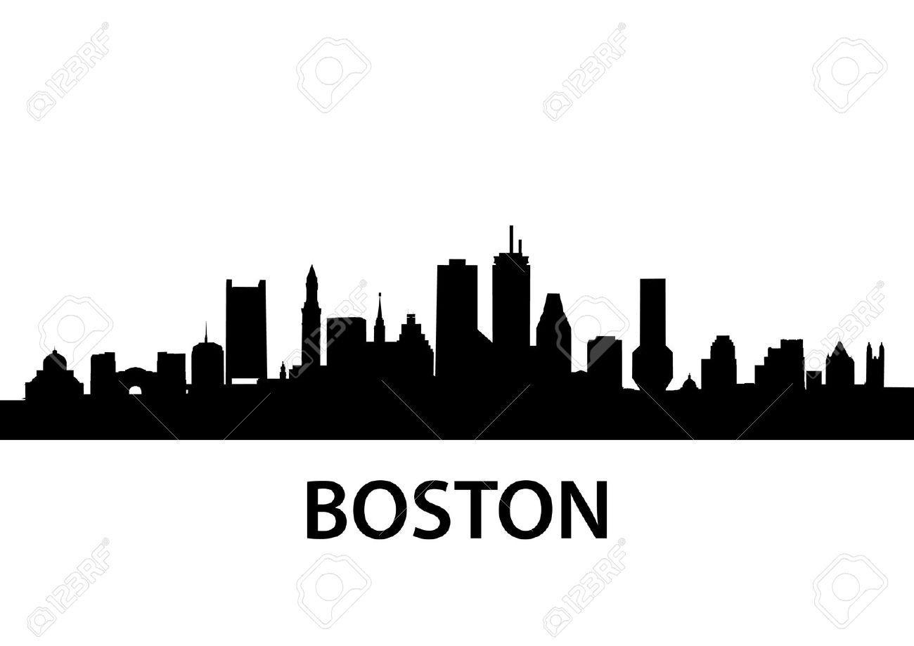 1300x919 Boston Skyline Outline Pencil
