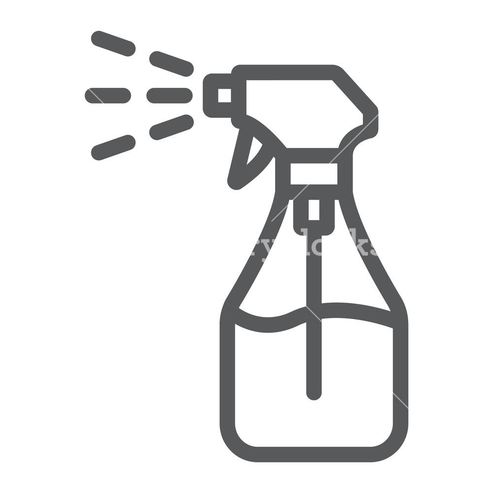 1000x1000 foggy spray line icon, liquid and fluid, spray bottle sign, vector