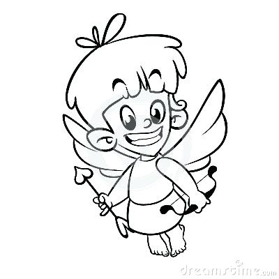 400x400 cupid drawing cartoon a happy cartoon cat cupid with a bow