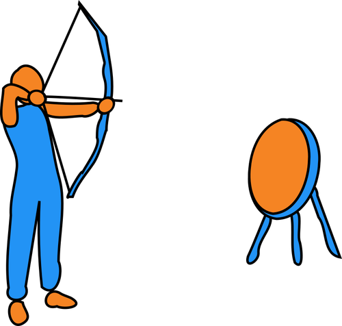 500x476 vector drawing of man figure aiming bow and arrow