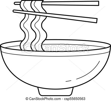450x412 bowl of noodles vector line icon bowl of noodles vector line icon