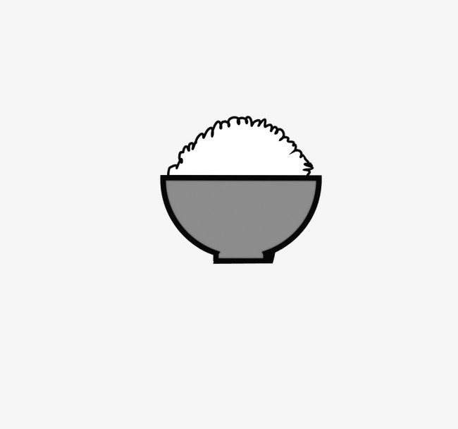 650x608 a bowl of rice, rice, bowl, black and white png clipart image
