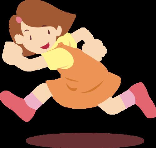 500x474 Girl Running Vector Drawing