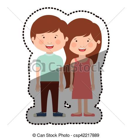 450x470 Isolated Boy And Girl Cartoon Design Boy And Girl Cartoon Icon