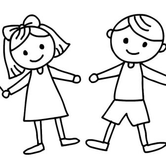336x336 Boy And Girl Drawing Cartoon Download Cute Video Black White