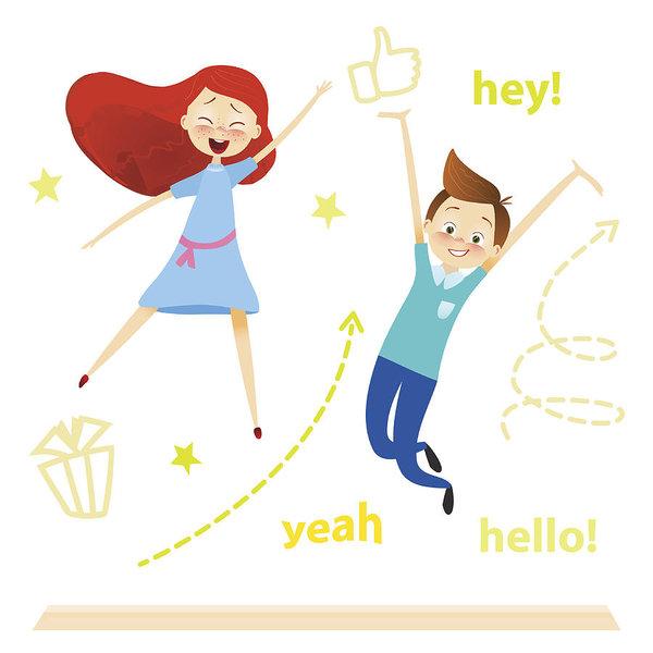 600x600 Cartoon Children Character Kids Jumping Happy Girls, Boy Enjoy