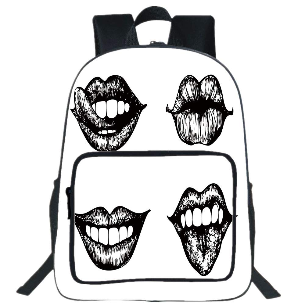 1000x1000 Iprint Large Casual Backpack,kiss,monochrome