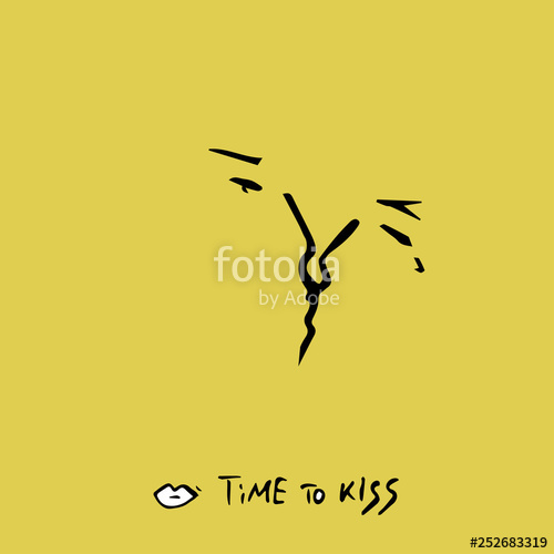 500x500 time to kiss text and drawing boy and girl kiss stock image
