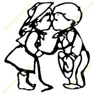 190x190 Valentine Drawing Of Boy And Girl Kissing In Heart Free Image