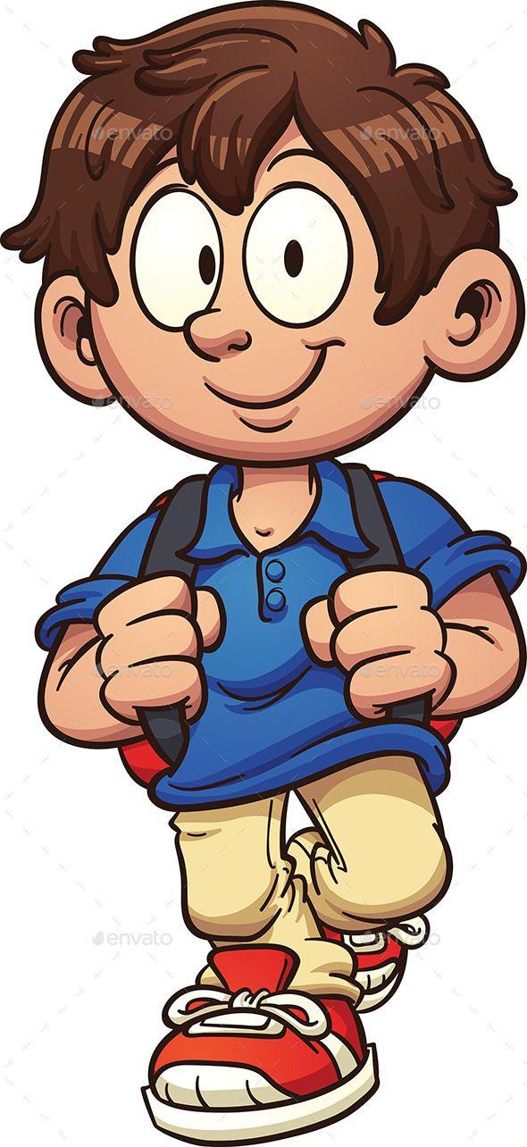590x1284 Cartoon School Boy Walking Vector Clip Art Illustration