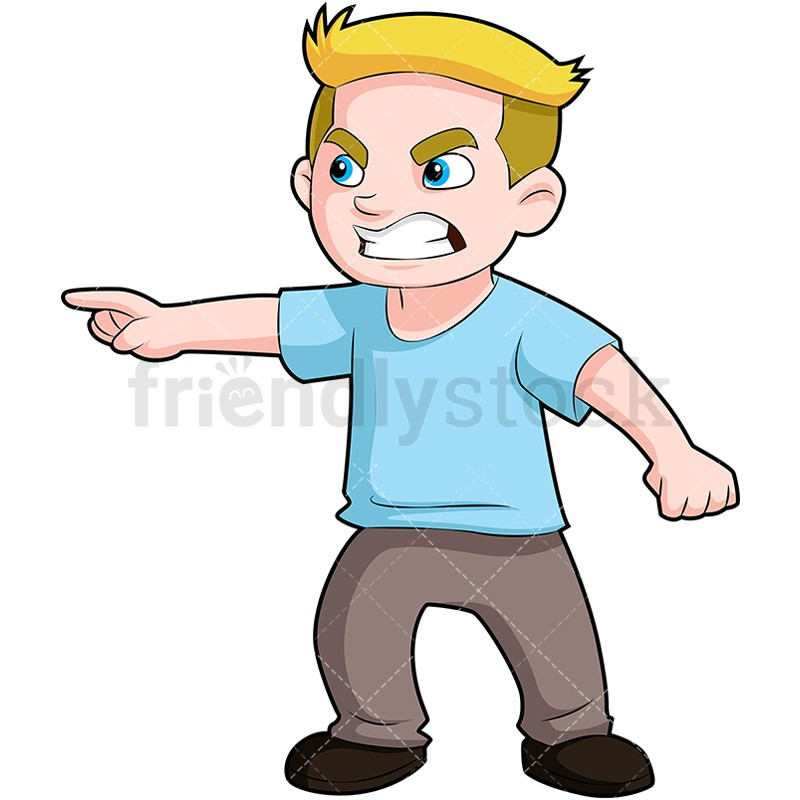 800x800 Angry Boy Pointing Finger And Scowling Cartoon Clipart Angry