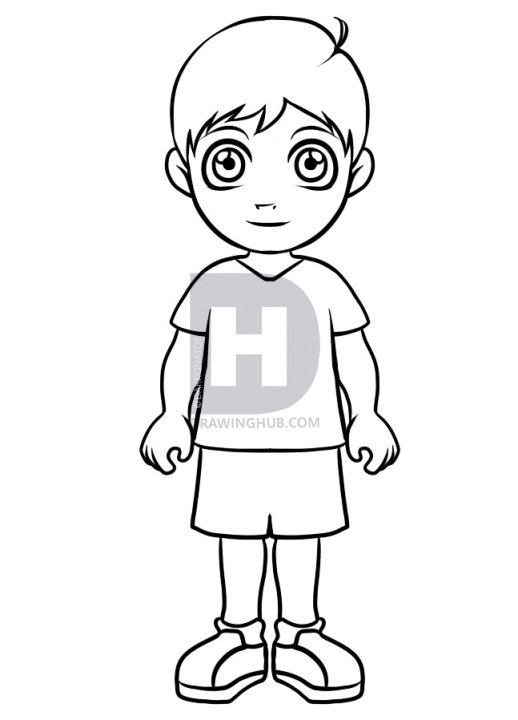 518x720 How To Draw A Simple Boy, Step