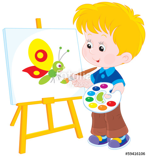 468x500 Little Boy Drawing A Picture With A Funny Butterfly Stock Image