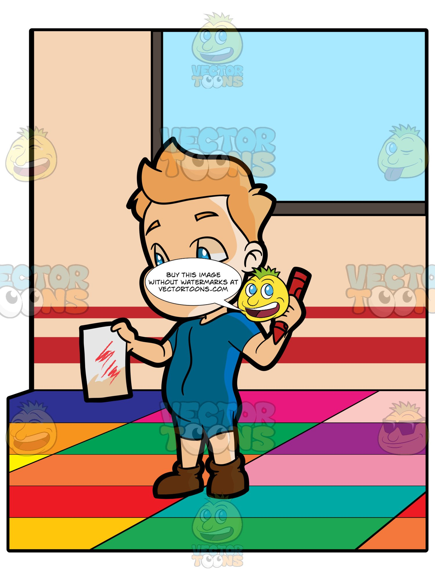 1500x2000 A Preschooler Boy Proudly Presenting His Drawing Clipart